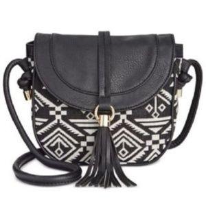 INC Saddle Crossbody Handbag Black White